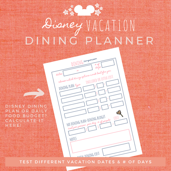 Disney Planner DINING PLANNER Disney Vacation Planner Printable