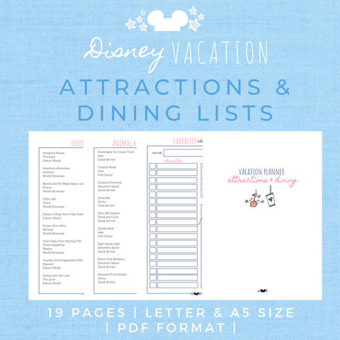 Disney Planner ATTRACTIONS & DINING Disney Vacation Planner Printable