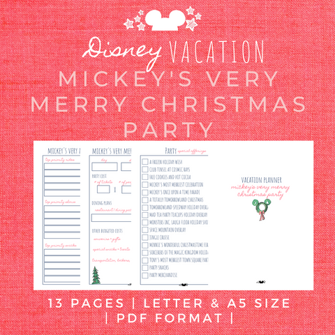 Disney Planner MICKEY'S VERY MERRY CHRISTMAS PARTY Disney Vacation Planner Printable