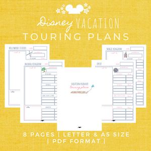 Disney Planner TOURING PLAN Pack Disney Vacation Planner Printable