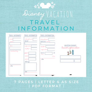 Disney Planner TRAVEL INFORMATION Pack Disney Vacation Planner Printable