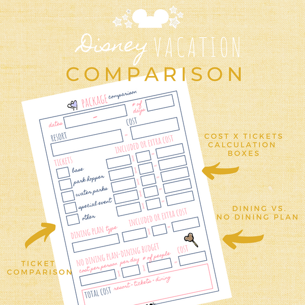 Disney Planner COMPARISON Disney Vacation Planner Printable