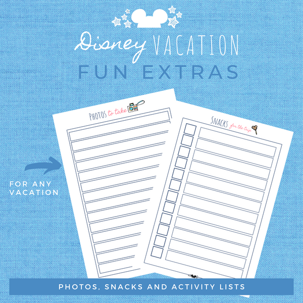 Disney Planner FUN EXTRAS Disney Vacation Planner Printable