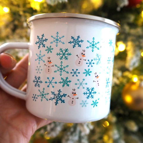 Olaf the Snowman Disney Winter Frozen Camping Mug with Snowflakes and Olaf Mug