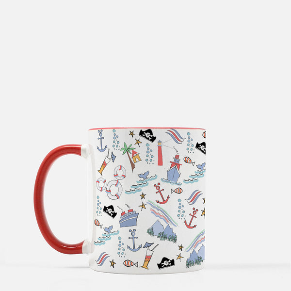 Disney Cruise Mug Sail Away with Me Disney Cruise Sketch Mug with Red Handle