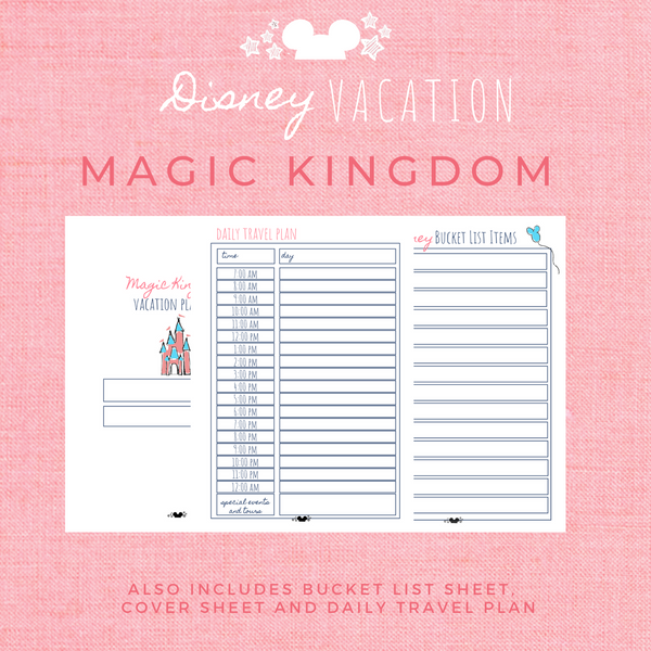 Disney Planner MAGIC KINGDOM Disney Vacation Planner Printable