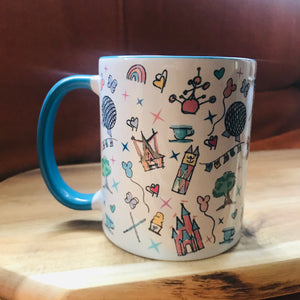Walt Disney World Parks Icons Disney Inspired Mug with Blue Handle