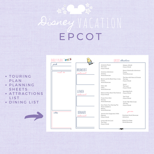 Disney Planner EPCOT Disney Vacation Planner Printable