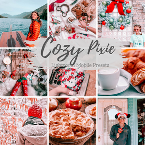 Winter Christmas Holiday Cozy Lightroom Mobile Presets, 4 Travel Fashion Blogger Presets, Bright Holiday Lifestyle Presets