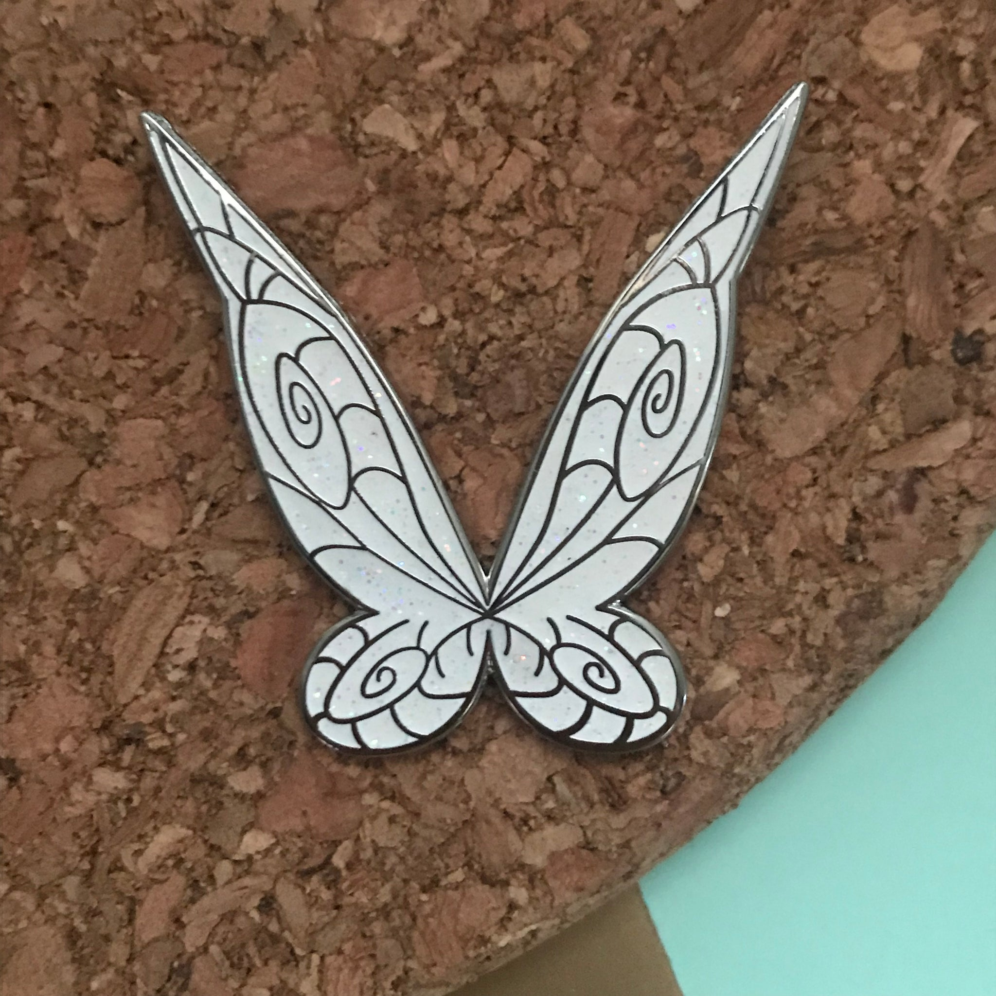 "Tinkerbell Tink Fairy Wings Hard Enamel 1.5"" pin"