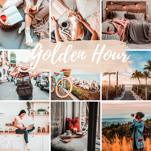 Golden Hour Lightroom Mobile Preset, 5 Travel Blogger Presets, Lifestyle Presets, Fashion and Home Instagram Presets