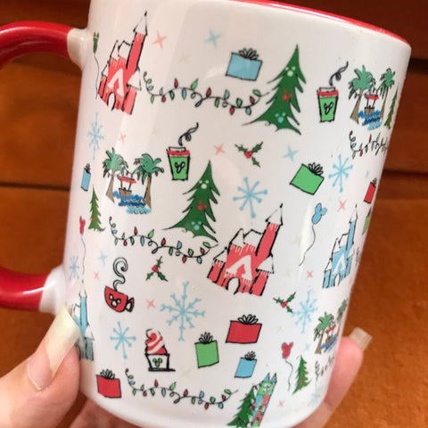 Disney Christmas Mug Oh What Fun Disney Holiday Mug with Red Handle