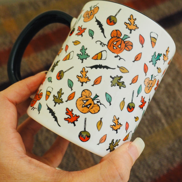 Boo to You Mug Disney Halloween Sketch Mickey Pumpkin Mug with Black Handle