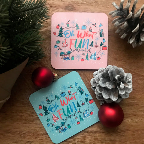Oh What Fun Disney Christmas Holiday Drink Coasters- Set of Four