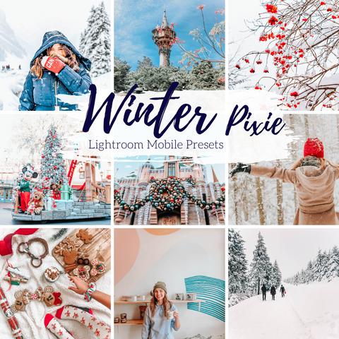 Winter Warm Snowy Holiday Lightroom Mobile Preset, Winter Pixie Preset, Travel and Lifestyle Presets