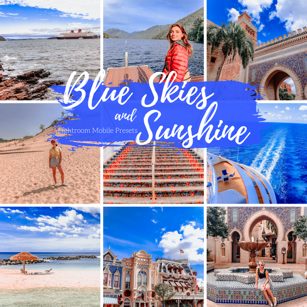 Blue Skies and Sunshine Warm Mobile Preset, Travel Blogger and Lifestyle Lightroom Presets