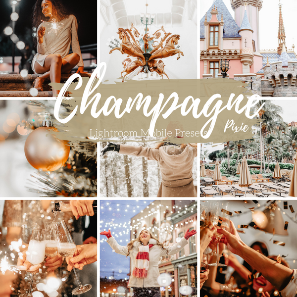 Champagne Light Gold New Year's Lightroom Mobile Presets, Travel and Lifestyle Blogger Presets