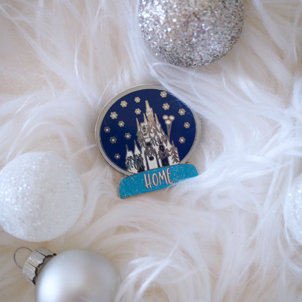 Snowglobe Cinderella Castle Pin Home for the Holidays Pin