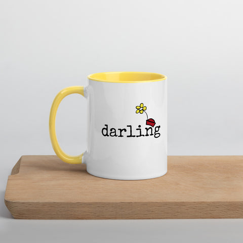 Minnie Mug Minnie Darling Disney Mom Disney Wife Disney Girlfriend Mug Disney Couples Mug with Yellow Handle