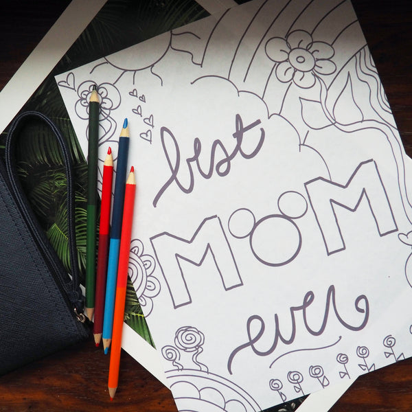 Mother's Day Card and Disney Coloring Pages Set of 2