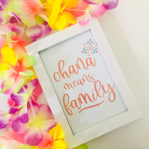 Ohana Lilo and Stitch Disney Printable Wall Art Print