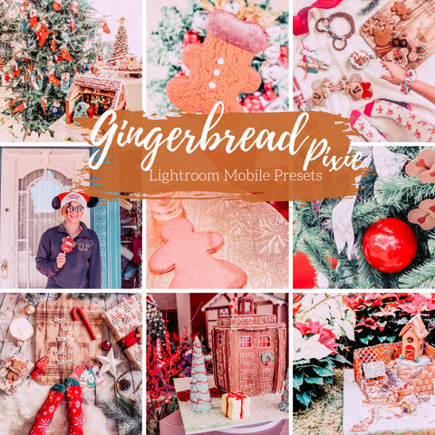Gingerbread Warm Lightroom Mobile Preset, Holiday Lightroom Preset Gingerbread Pixie