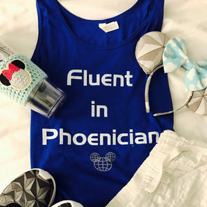 Fluent in Phoenician Spaceship Earth Walt Disney World Epcot Unisex Tank Top