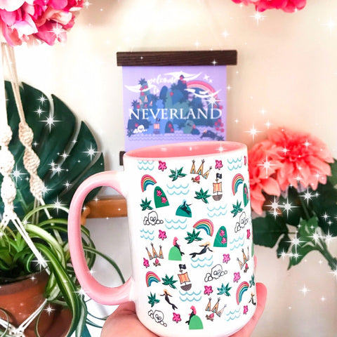 Neverland Mermaids Mug Disney Peter Pan Mug with Pink Handle