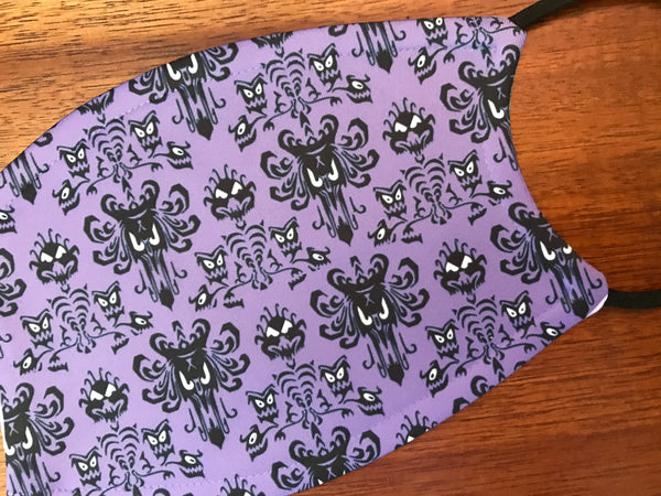 Disney Haunted Mansion Face Mask Adjustable Ear Loops With 2 filters