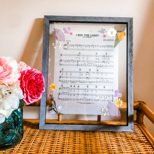 Pressed Flower Frame Rapunzel At Last I See The Light Music Sheet