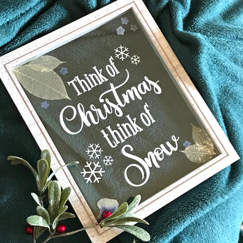 Think of Christmas Holiday Pressed Flower Frame