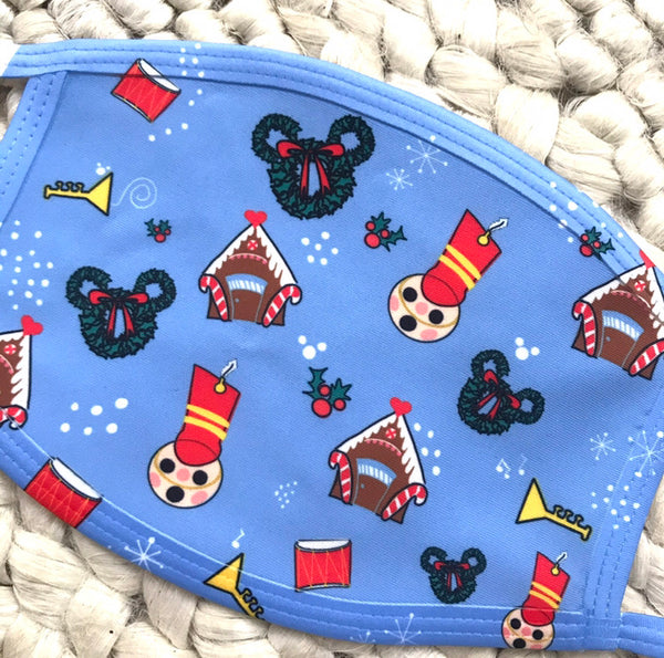 Winter and Holiday Face Mask Disney Themed Face Mask Cotton Polyester Ear Loop Face Mask with Filter Pocket