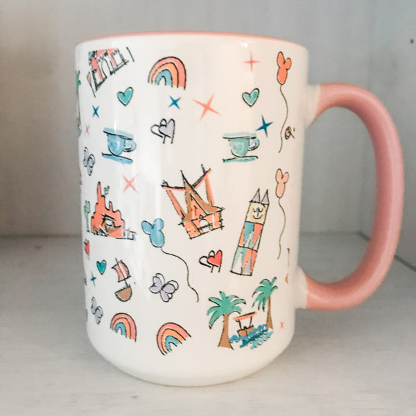 Disneyland Parks Icons Disney Inspired Mug with Pink Handle