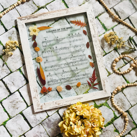 Pressed Flower Frame Pocahontas Paint With All The Colors Music Sheet
