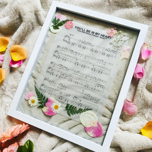 You'll Be in My Heart Music Sheet Pressed Flower Frame