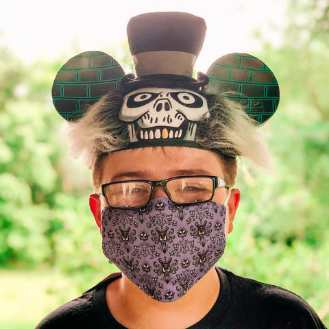 Disney Halloween Themed Face Mask Adjustable Ear Loops With 2 filters