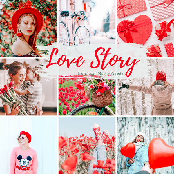 Love Story Valentine's Day Pink and Red Mobile Lightroom Presets Instagram Presets