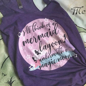 Mermaid Lagoon Peter Pan inspired Think Happy Thoughts Dreamy Tank Top