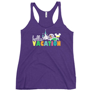Hello Vacation Tank Top Four Parks Walt Disney World Women's Racerback Tank