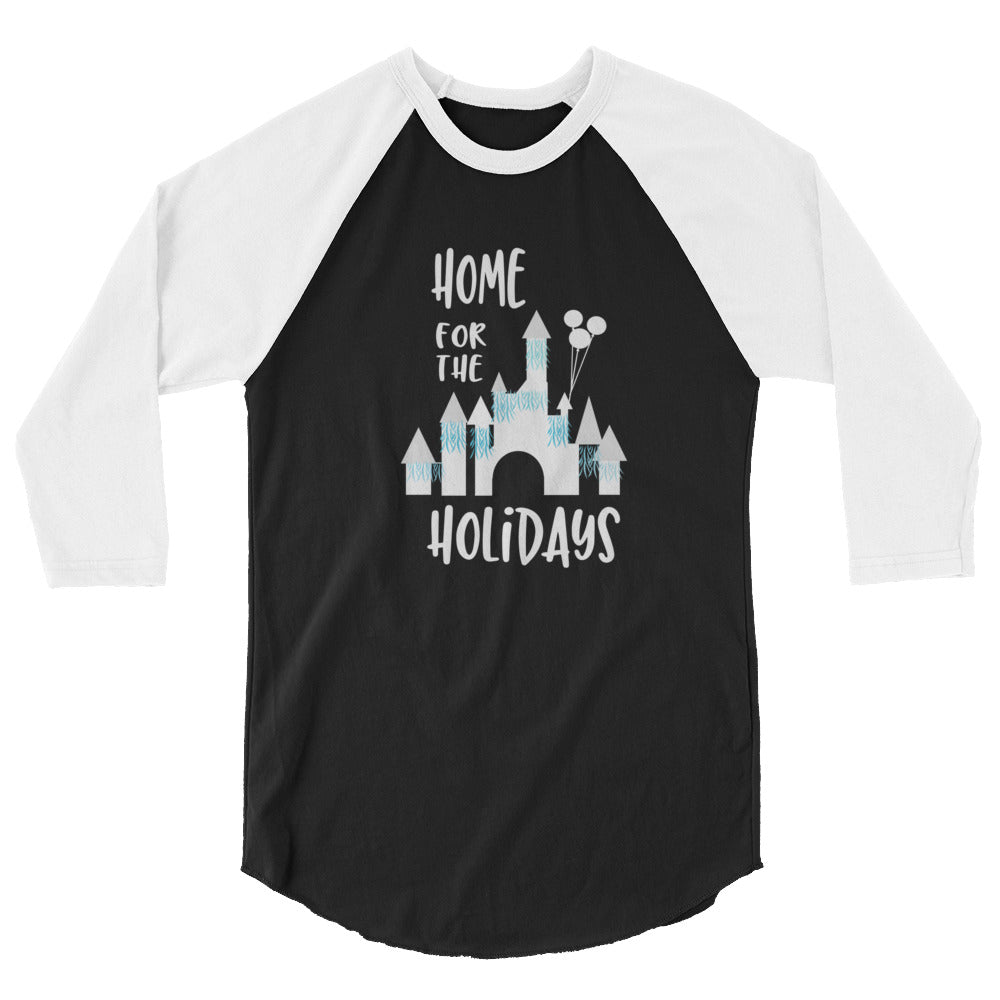 Home for the Holidays Disneyland Sleeping Beauty Castle Christmas 3/4 sleeve raglan shirt