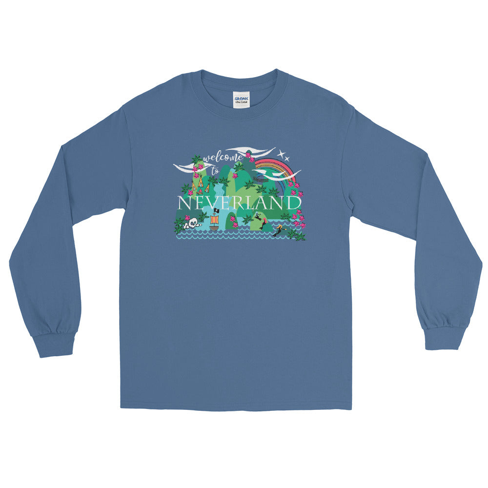 Neverland Disney Mermaids Disney Peter Pan Disney Men's Long Sleeve Shirt