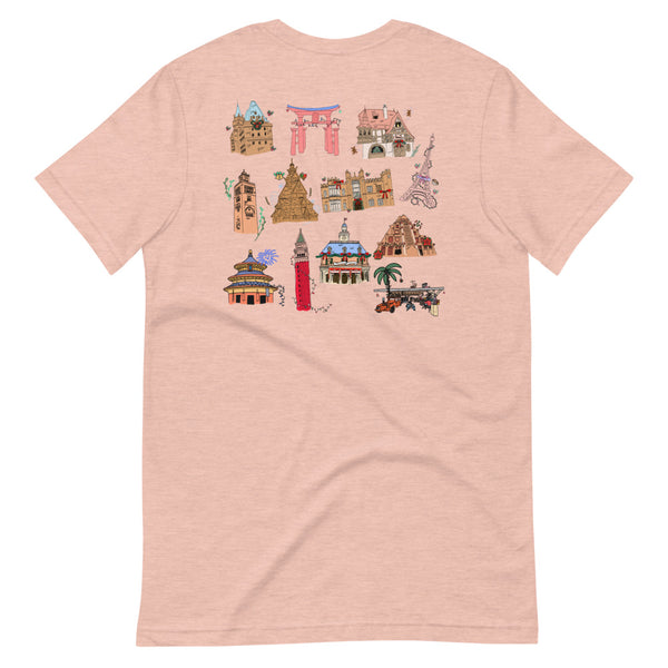 Epcot Holiday T-Shirt Joy to the World Showcase Christmas Short-Sleeve Unisex T-Shirt