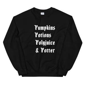 Harry Potter Halloween List Unisex Sweatshirt