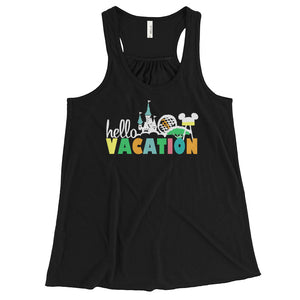 Hello Vacation Four Parks Walt Disney World Family Shirt Women's Flowy Racerback Tank