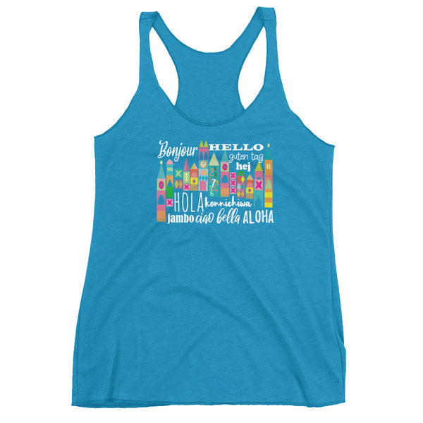 Small World Hello Tank Top Disney Small World Many Languages Ladies Tank