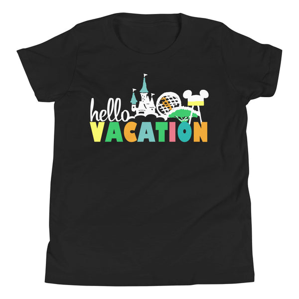 Hello Vacation Kids Disney Four Parks Walt Disney World Youth Short Sleeve T-Shirt