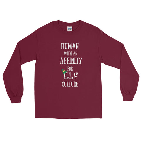 Elf Christmas Long Sleeve Shirt Human with an Affinity for Elf Culture Long Sleeve Shirt