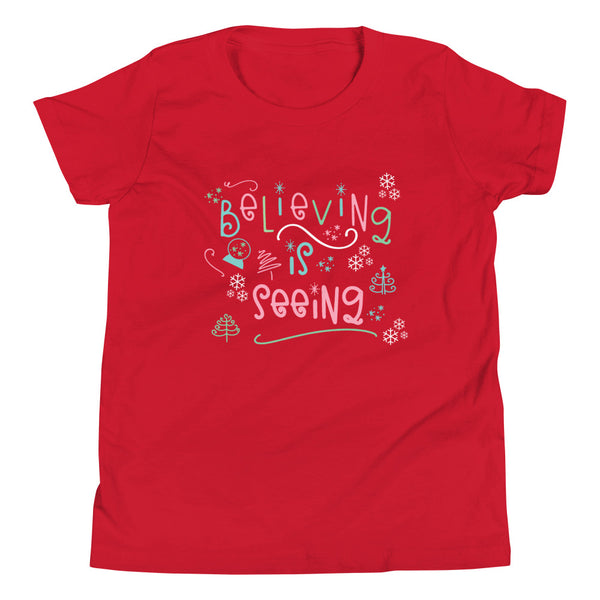 The Santa Clause Kids T-shirt Believing is seeing Christmas holiday Kids Short Sleeve T-Shirt
