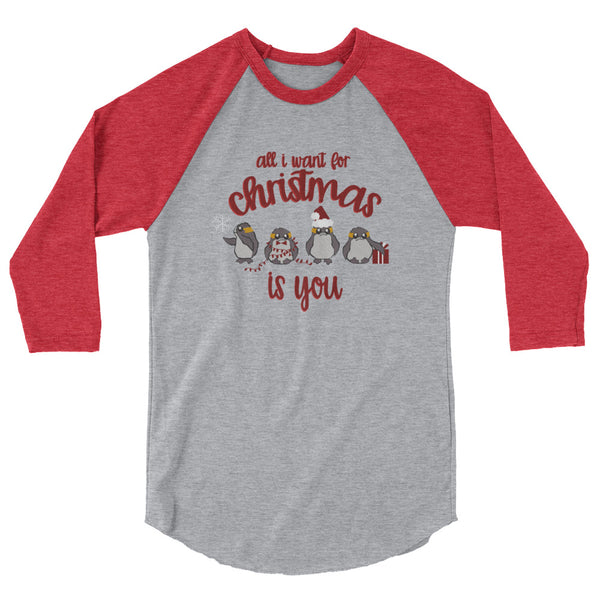 Christmas Star Wars Porg Raglan, All I want for Christmas is You Disney Holiday Shirt