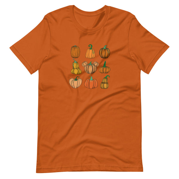 Mickey Pumpkin Patch T-Shirt Fall Short-Sleeve Unisex T-Shirt